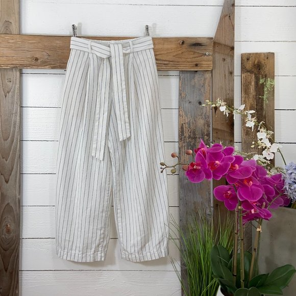H & M Linen Pre Loved Wide Leg Pant with Tie Sash